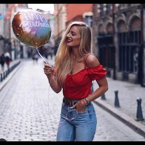 Zara women red poplin crop top tank top nwot xl